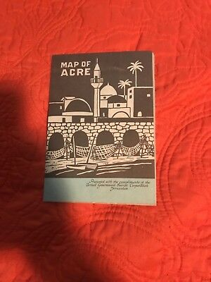 Vintage Map of Acre Jerusalem Tourist Travel Guide Brochure Israel Govt 1960s