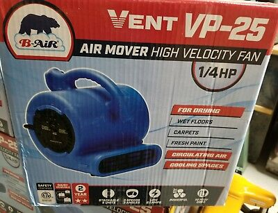 B-Air VP-25 1/4 HP Air Mover for Water Damage Restoration Carpet Dryer Open Box
