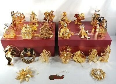 Large Lot Of 26 The Danbury Mint Gold Christmas Ornaments Collection W/boxes!!!