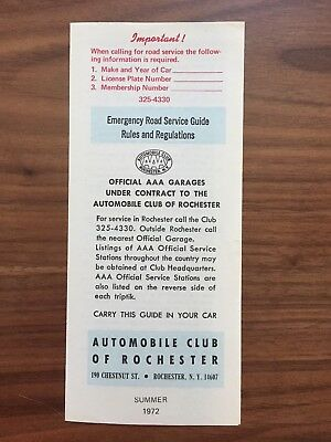 1972 AAA Automobile Club of Rochester NY Emergency Road Service Guide