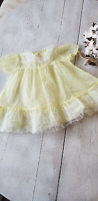 Vintage Toddler Girls Sheer Yellow Frilly  Party dress Size 12 mths