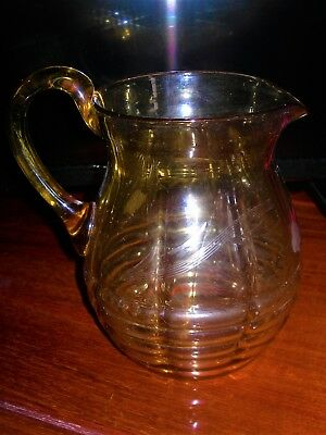 Very Pretty 1920'S  AMBER JUG / VASE : ETCHED DESIGN