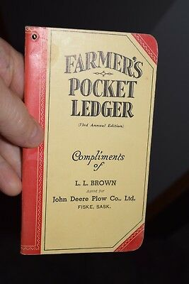 antique 1939 FISKE SASKATCHEWAN JOHN DEERE pocket ledger
