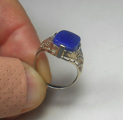 14K SOLID W. GOLD Awesome Antique Art Deco Filigree Lapis Ring Sz 5.75 RARE FIND