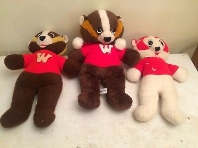 Lot Of 3 Rare Vintage Bucky Badger University Of Wisconsin Madison Plush Toy