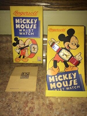 Vintage Ingersoll Mickey Mouse Watch 1947 -1948 Works W/ Box & Instructions NOS