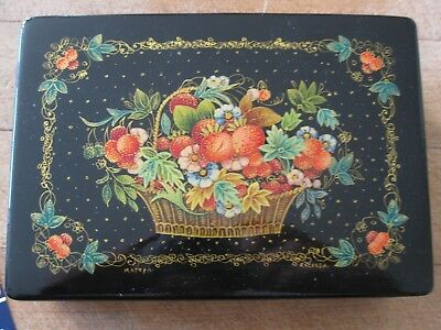 """Vintage Russian 7 1/2""""  Lacquer Box Signed With Paperwork"""