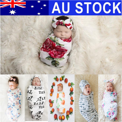 NEW Newborn Baby Girl Boy Swaddle Wrap Blanket Sleeping Bag+Headband Outfits Set