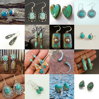Women 925 Silver Turquoise Gems Wedding Antique Engagement Drop Dangle Earrings
