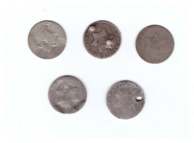 US (5) FIVE Ag or Damaged SILVER THREE CENT PIECES 3¢ From The 1850's