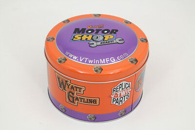 V-Twin Motor Shop Ready Round Can Set Full Color Lithographed Motorcycle NEW