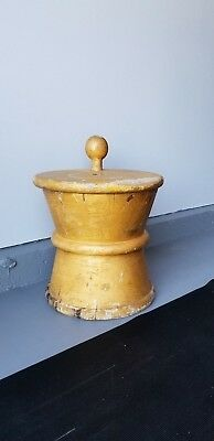Vintage Wooden Mortar and Pestle Trade Sign