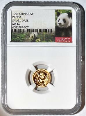 1991 China 5 Yuan Small Date Gold Panda Coin NGC/NCS MS69 Conserved!! Red Label!