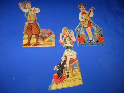3 Vintage Valentines With Moveable Parts  -  L@@k