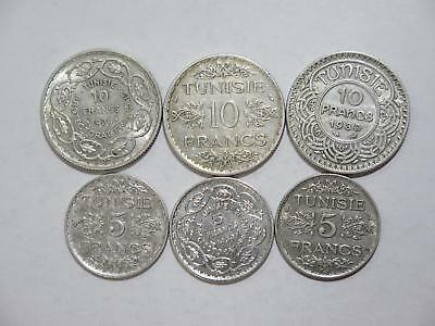 Tunisia Tunisie 5 & 10 Francs Silver Type Mixed Old World Coin Collection Lot