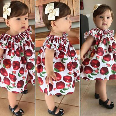 Infant Newborn Kids Baby Girls Ruffle Sleeve Apple Dress Outfits Cotton Clothes