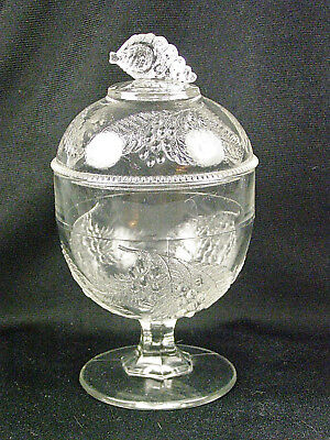 McKee Boston & Sandwich Early American Pattern Glass BARBERRY Covered Sugar