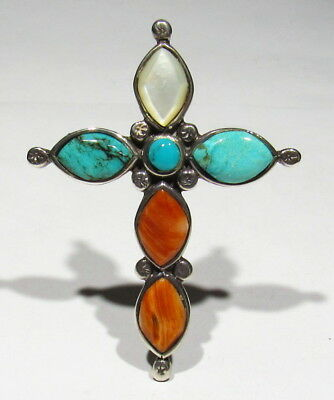 Huge Old Signed Zuni 925 Silver Turquoise Spiny Oyster Mo Pearl Cross Pendant