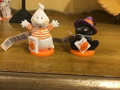 Hallmark Halloween 2 Merry Minatures Ghost & Black Cat New With Tags