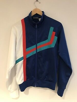 Vintage 90s Track Jacket Mens Small Long Sleeve Full Zip Up Blue Red White