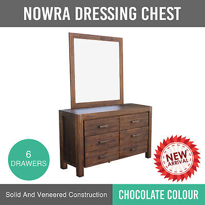 Dresser With Mirror Veneered Acacia Construction Chocolate Colour 6 Drawer Nowra
