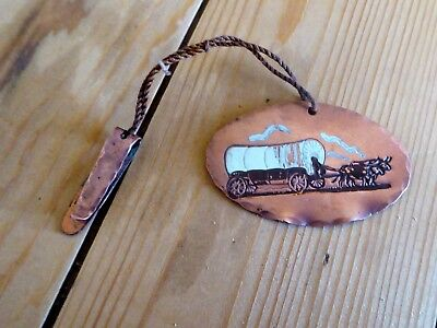 Vintage Copper Western Cowboy Art Medallion Pendant - Covered Wagon