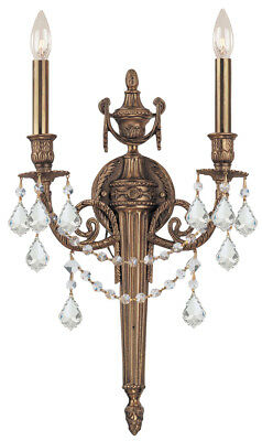 Crystorama 752-MB-CL-MWP Cast Brass  Hand Cut Crystal Wall Sconce, Matte Brass