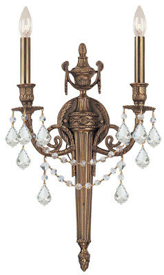 Crystorama 752-MB-CL-SAQ Cast Brass  Spectra Crystal Wall Sconce, Matte Brass