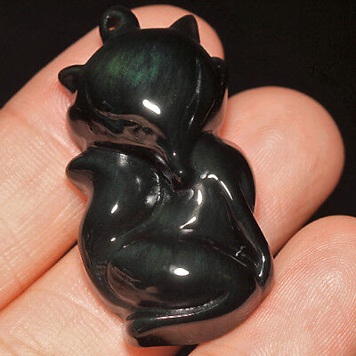 41.4Ct 100% Natural Mexican Rainbow Obsidian Carving Fox UCRH285