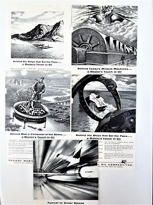 """Lot of 5 Socony Mobil Oil 1956 Ads 4 dif """"A Master's Touch in Oil"""" + Wind Tunnel"""