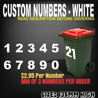 Custom White 135MM H Wheelie Bin House Number Quality Stickers Decals