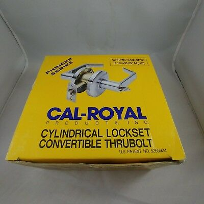 CAL-ROYAL Cylindrical Lockset Convertible Thrubolt SL-03 US26D Lever Lock In Box