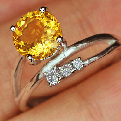 12.8Ct 100% Natural 18K Gold Plated Unique Golden Citrine Faceted Ring UDQY97