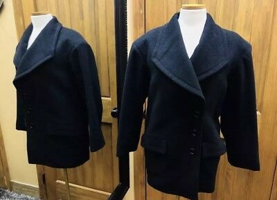 fd3caa9894f VINTAGE YVES SAINT Laurent Rive Gauch Rare Black 3 Button Wool Coat ...