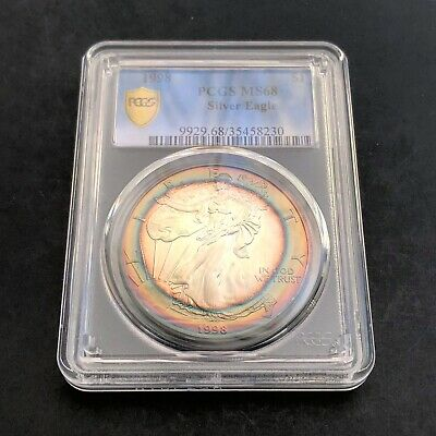 MS68 1998 $1 American Silver Eagle PCGS Secure- Rainbow Target Toning