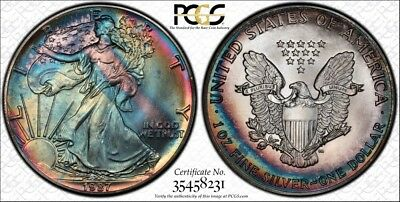 MS68 1987 $1 American Silver Eagle PCGS Secure- Bright Rainbow Toning