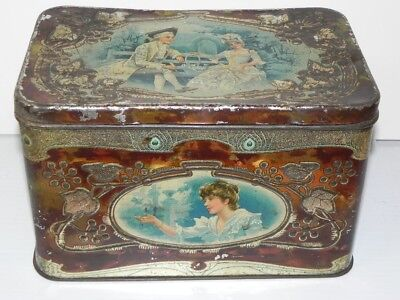 Antique Art-Nouveau Style Embossed Larger Sized Biscuit Tin