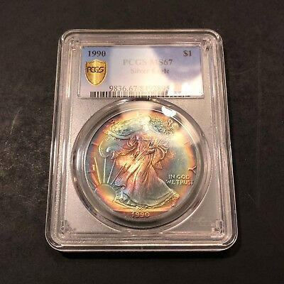MS67 1990 $1 American Silver Eagle PCGS Secure- Rainbow Target Toning