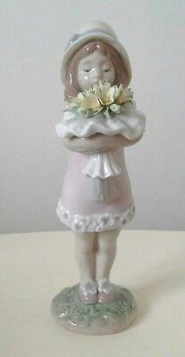 Vintage Lladro Utopia Figure Of A Girl With Encrusted Flowers