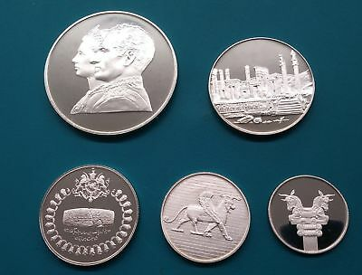 1971 EMPIRE OF IRAN Complete Silver Set 1st Limited Issue with COA GEM UNC -