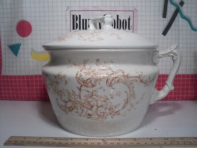 Chamber Pot with Lid 1890s Edwin Bennett Antique Victorian Pottery