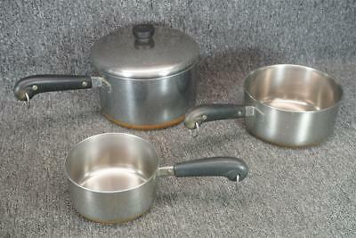 """Revere Ware Copper 5.75"""", 7.25"""" & 8.25"""" Wide Cookwave Stove Top Pots"""