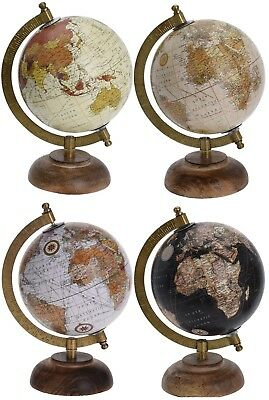 Retro 23cm Globes Ornament Globe on Wood Stand in Black White Orange & Cream