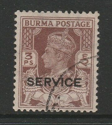 BURMA 1946 OFFICIAL 3p BROWN SG O28 FINE USED.
