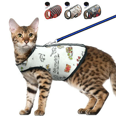 Cat Walking Harness and Leash Escape Proof Adjustable Vest for Pet Dog Kitten