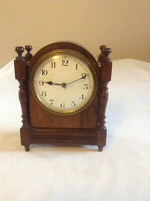 Antique French Wooden Mantel Clock Working