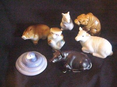 7 porcelain Chinese year of the ox monkey snake pig goat tiger rat Japan  Iida