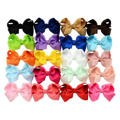 20 Baby Girl Handmade Grosgrain Ribbon Boutique Bow Knot Hair Clip Pin Alligator