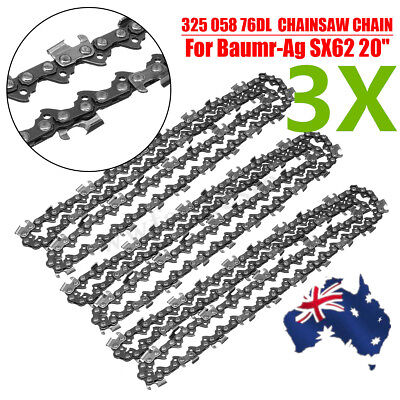 "AU 3pcs Chainsaw Chains 325 058 76DL for Baumr-Ag SX62 for 20"" Bar Parts"