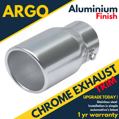 Silver Chrome Exhaust Bore Tail Pipe Finisher Cover Upgrade Car Vehicle 60mm Fit